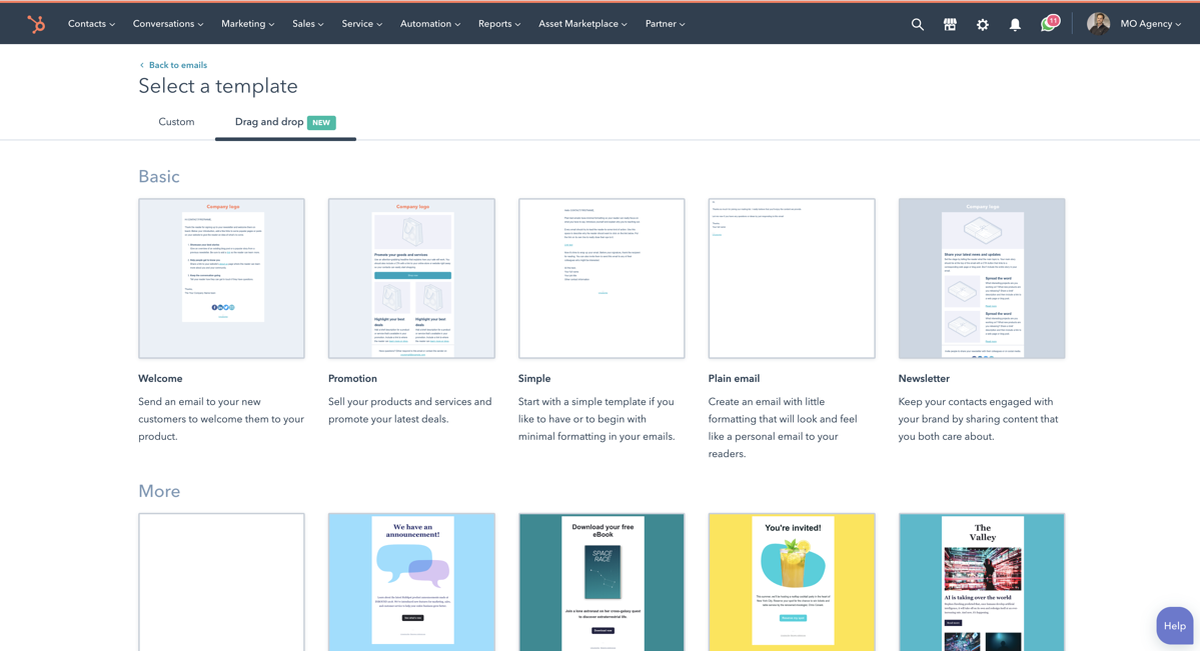 HubSpot - Select a Template