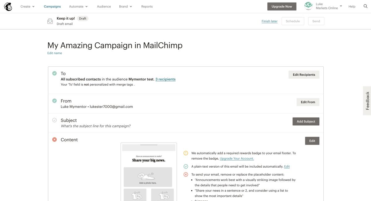 MailChimp - Email Summary