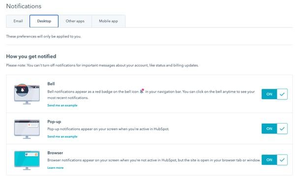 HubSpot desktop notifications