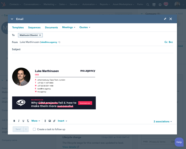Send email from inside HubSpot