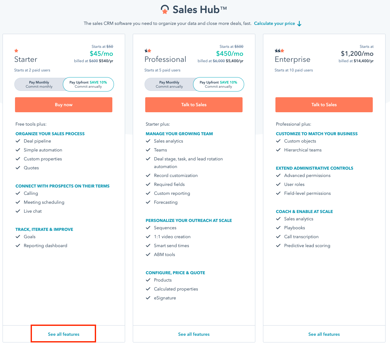 hubspot sales crm pricing