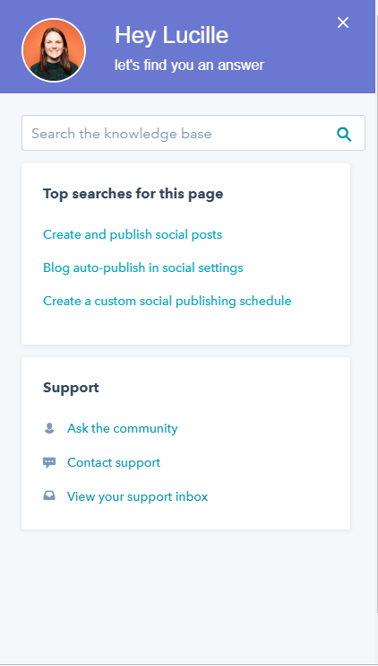 HubSpot's help tab