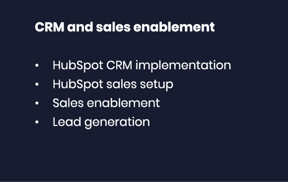 CRM and sales enablement HubSpot CRM implementation HubSpot sales setup Sales enablement Lead generation