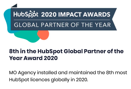 8th in the HubSpot Global Partner of the Year Award 2020 MO Agency installed and maintained the 8th most HubSpot lice